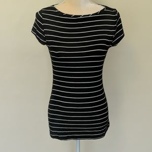 Green Envelope black and white striped tee